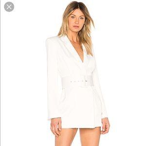 NBD white long sleeve blazer dress